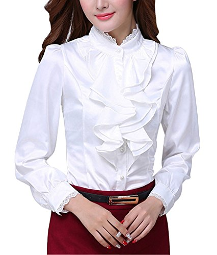 Lined Long Sleeve Blouse - DPO Women's Chiffon Ruffle Founcing Fleece Lined Shirt Long Sleeve White Fleece 12