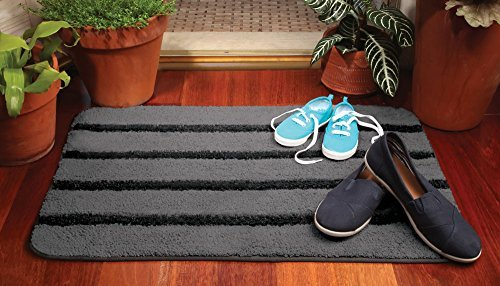 Norwex Entry Way- Door way - Shower Mat in Size 20'' x 30'' Gray with Black Stripe by Norwex