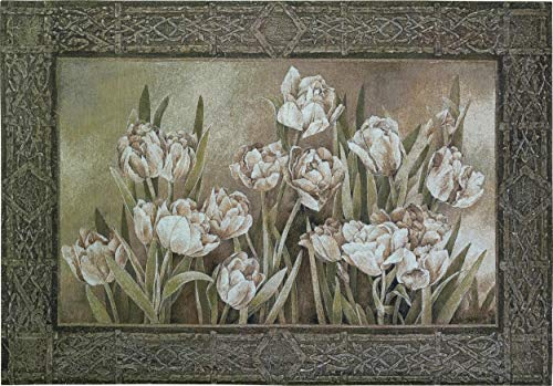 Tulips in Window by Linda Thompson   Woven Tapestry Wall Art Hanging   Floral White Tulips in Natural Setting   100% Cotton USA Size 53x36 ()