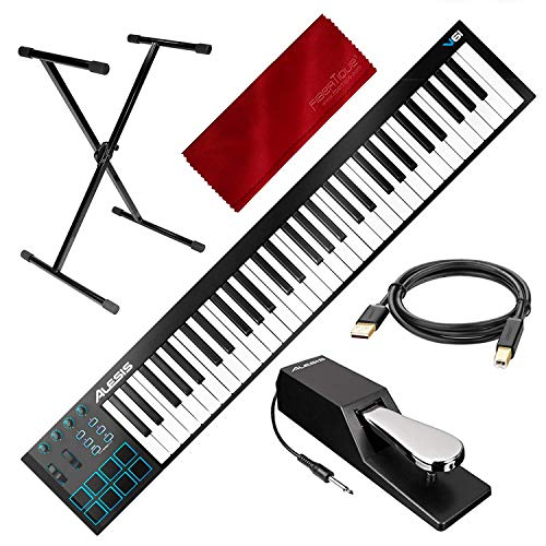 Alesis V61 61-Key USB MIDI Keyboard & Drum Pad Controller w/ 8 Pads / 4 Knobs / 4 Buttons and Accessory Kit