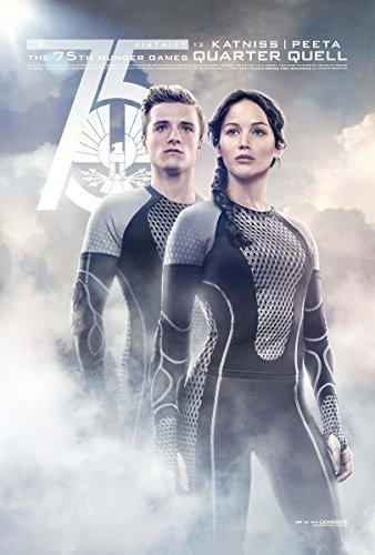 The Hunger Games 2 : Catching Fire (2013) - Katniss Peeta Quarter - 13 in x 19 in Movie Poster Flyer BORDERLESS + Free 1 Tile Magnet