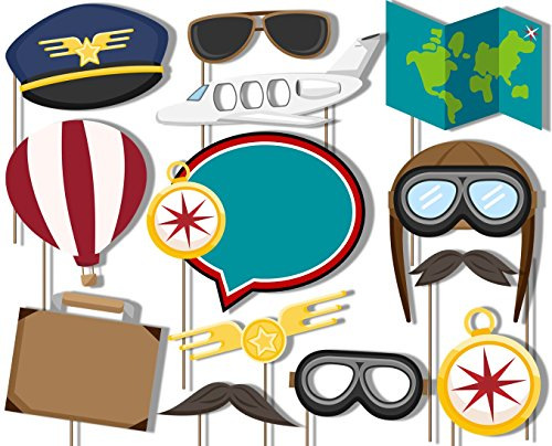 Birthday Galore Airplane Travel Time Photo Booth Props Kit - 20 Pack Party Camera Props Fully Assembled