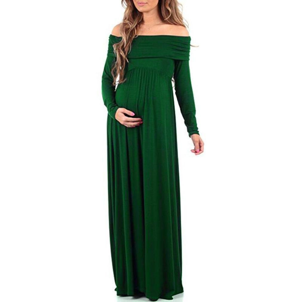 Maternity Dress, Quistal Long Elegant Off Shoulder Long Sleeve Pregnant Dress, Plus Sizes (M, Green)