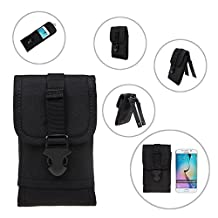Baiyu 1000D Tactical Smartphone Waist Pack Bag Pouch MOLLE Combat Gear Army Belt Holster Carrying Case for iphone 6plus(5.5inch) Outdoor Bag Adjustable Lock Latch--Black Army Green Coyote Tan