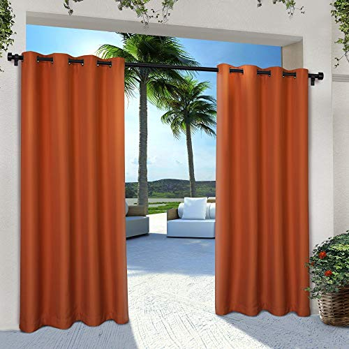 Exclusive Home Curtains Indoor/Outdoor Solid Cabana Window Curtain Panel Pair with Grommet Top, 54x84, Mecca Orange, 2 Piece (Blackout Burnt Curtains Orange)