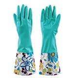 Sealike Floral Antiskid Dishwashing Gloves Cleaning Gloves Household Gloves Water Stop Waterstop Gloves with Stylus Blue