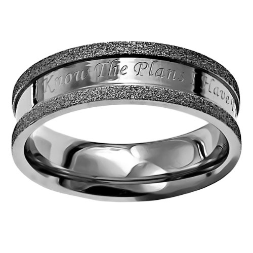 Silver Chastity Ring (Christian Womens Stainless Steel Abstinence Silver Champagne I Know Chastity Ring for Girls -