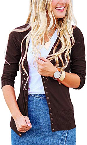 Button Down Long Sleeve Coat - Basic Faith Women's S-3XL V-Neck Button Down Knitwear Long Sleeve Soft Knit Casual Cardigan Sweater Quarter Sleeve Brown 3XL