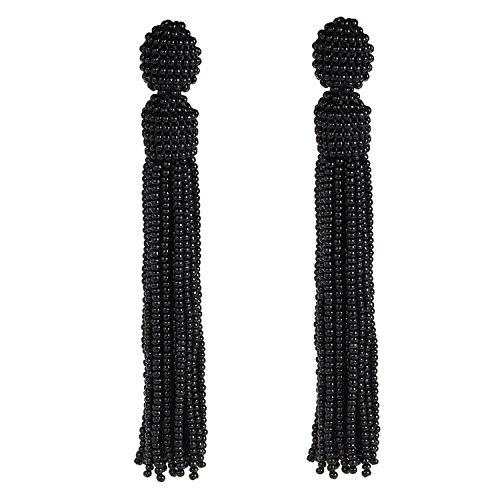 - Bonnie Women's Tassel Long Earring Bead Solid Color Handmade Stud Tassel Earrings (Black)
