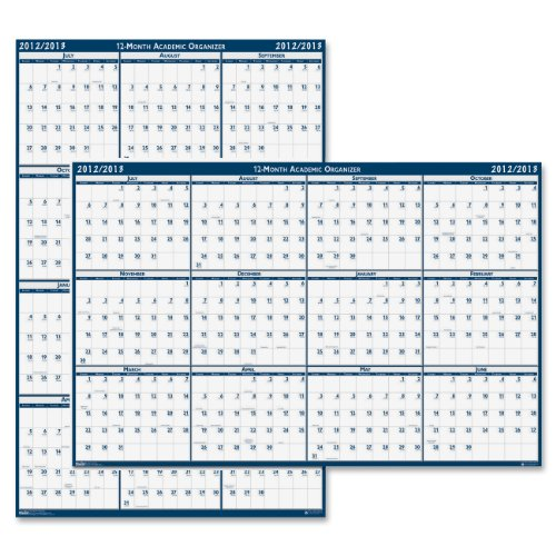 (House of Doolittle Laminated Poster Style Academic Yearly Wall Calendar, 2 Sided, Horizontal & Vertical, Erasable, July 2012 - June 2013, 24