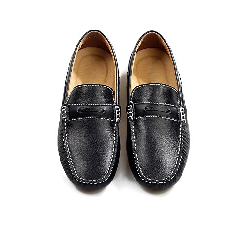 Driving Sole Moccasins Stitching Shoes Black Leather Manual Studs Rubber Penny Vamp Men' Boat Splice Loafers WEgOZ