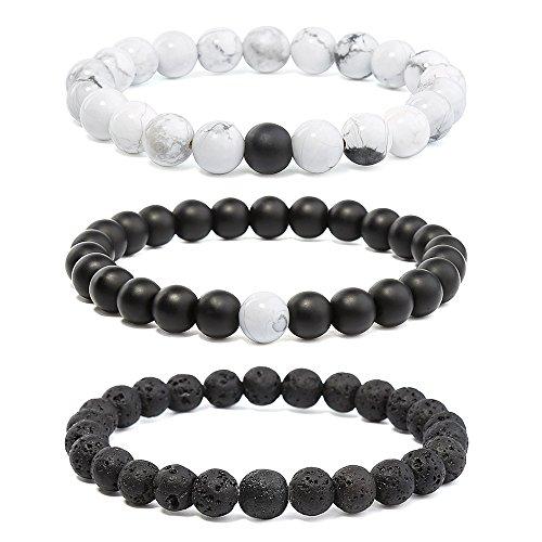 Howlite Stone Bracelet (3 packs Stone Bracelet,Black and White Howlite Bead Bracelet,Lava Rock Bead Bracelet for Essential Oils)