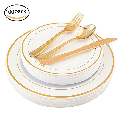 100 Piece Gold Plastic Plates with Gold Silverware, Premium Plastic Dinnerware Set Includes : 20 Dinner Plates , 20 Dessert Plates, 20 Forks, 20 Knives and 20 (Glossy Salad Fork)