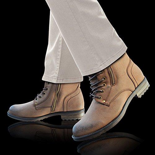Armée Éclair Marron Hommes À Bottes Fermeture 6 Militaire Enfiler Cowboy 12 Cheville Xelay Femme Motard R1wqgg