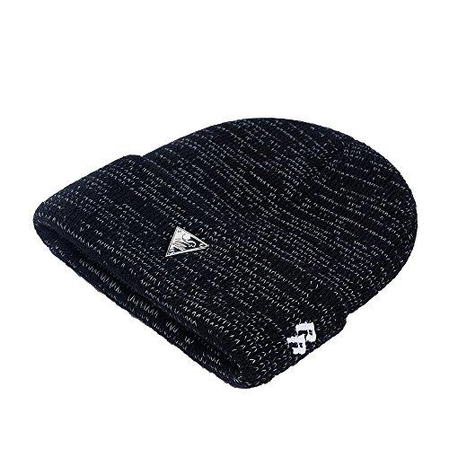 Silk Winter Hat (RIOREX Winter Hat With Reflective Silk Winter Hats For Men Night Run Cap (Black))