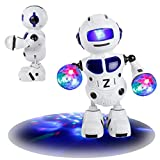Dancing Robert/Kid Electronic Toys/Smart Robot ,Y56 Intelligent Programmable Electronic Walking Dancing Singing Drumming Smart Bot Robot Astronaut Kids Music Light Toys (Blue)
