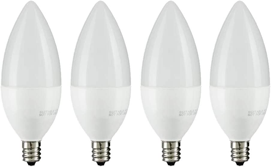4-Pack 2700K Soft White PROCURU E12 Candelabra LED Bulbs Chandelier Candle Base 270 Lumens 25W Equivalent 3 Watts Non-Dimmable