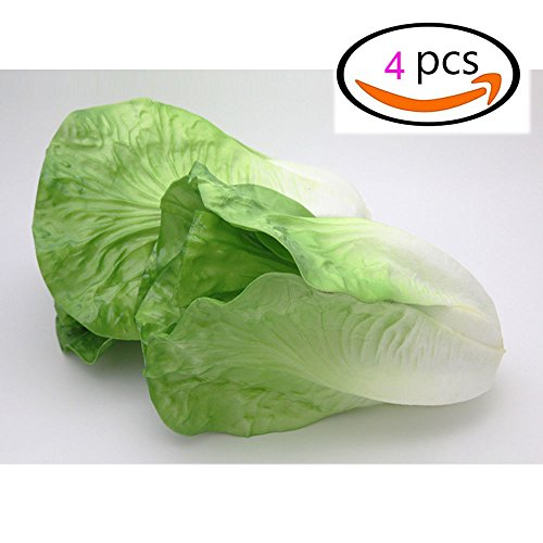 HappySUN Pack of 4 Green Lettuce Artificial Lifelike Simulation PU Artificial Vegetables Fake Vegetable Home Kitchen Cabinet Decoration (4, Green Lettuce) by HappySUN