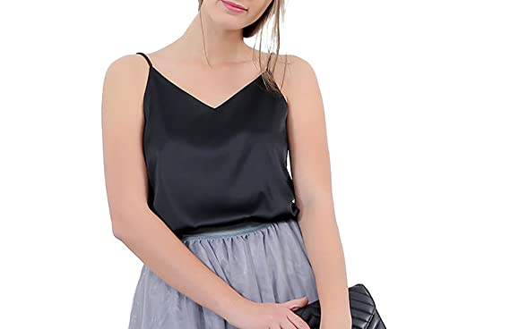 5a42fbb9f4839 Omelas Women s Basic Smooth Silk Camisole Cami Halter Top Sexy V Neck Tank  Tops (Black