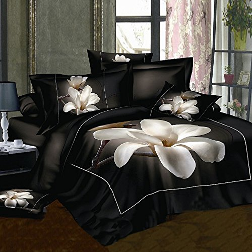 Alicemall 3D Floral Bedding Full Size White Big Blooming ...