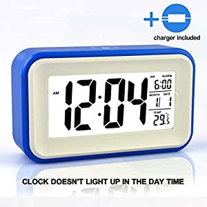 """HITO 6"""" Alarm Clock w/ Date and Temperature Display, Repeating Snooze, Light-activated Sensor Light and Touch-activated Nightlight- Batteries/ USB powered(1Gen Blue+ charger(UL))"""
