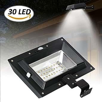 [1 Pack] T-SUN Solar Gutter Lights, 30 LED PIR Motion Sensor Solar Lights, Waterproof Powered Security Lamp for Outdoor Garden, Fence, Garage(6000K-Black)