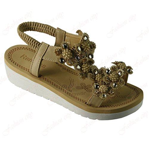 Walking {4} 786 Sandals UK Beige Platform amp; Comfortable Flat Ladies Beach Aaishaz Bottom Toe Shoes Open Wfp4qYx6