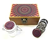 Herb Stash Box Set All in One 3pc Combo, Grinder, Glass Storage Jar