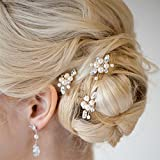 Aukmla Bridal Wedding Hair Pins,Hair Accessories for Women and Girls (Pack of 3)