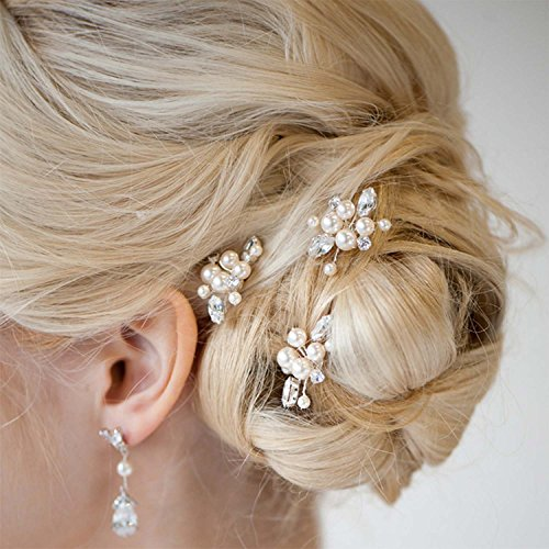 Aukmla Bridal Wedding Hair Pins for Women and Girls (Pack of 3) (Sliver)