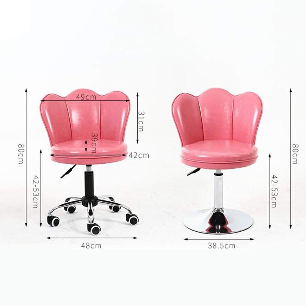 WYY HPLL kontorsstol datorstol, hemmakontor ryggstöd svängbar stol makeup skönhet nagelstol 4 färger svängbar stol (färg: Krämgul) rosa