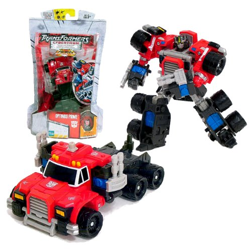 Transformers Cybertron Hasbro (Transformers Hasbro Year 2006 Cybertron Series Deluxe Class 6 Inch Tall Robot Action Figure - Autobot OPTIMUS PRIME with Double Punch Attack and Cybertron Planet Cyber Key (Vehicle Mode: Rig Truck))