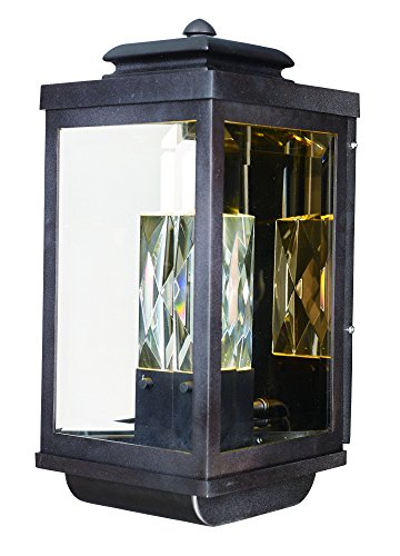 Maxim 53524CLGBZ Mandeville LED 2-Light Outdoor Wall Lantern, Galaxy Bronze Finish, Clear Glass, PCB LED Bulb , 60W Max., Damp Safety Rating, Standard Dimmable, Shade Material, 2016 Rated - Stores Mandeville