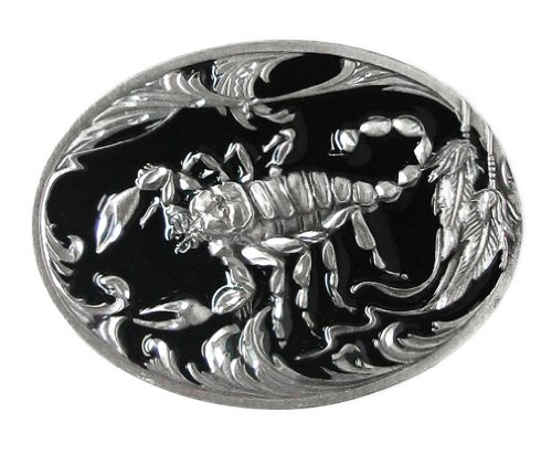 Pewter Belt Buckle - Scorpion (Diamond Cut) - Pewter Belt Buckle