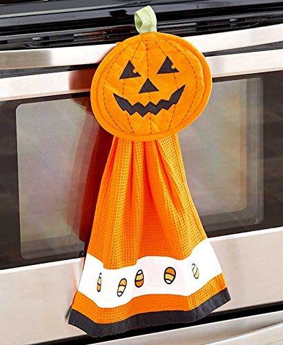 2 Piece Halloween Kitchen Accessories:  Pumpkin Kitchen Towel and Pot Holder]()