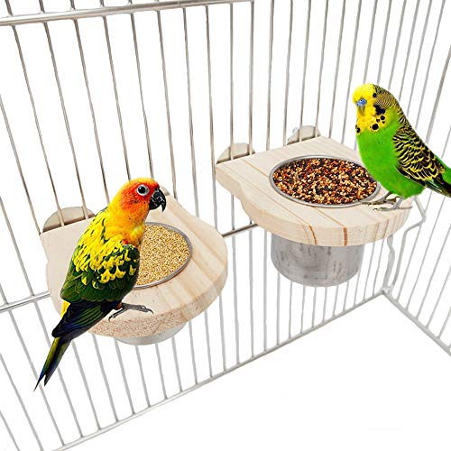 kathson Food & Water Bird Feeding Cups with Clamp Parrot Cage Hanging Bowl Stainless Steel Coop Cup Feeding Dish Feeder…