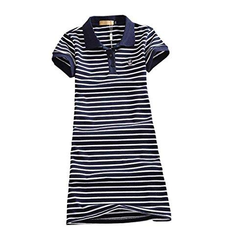 PRADRD レディース テニスウェア ストライプ 刺繍 Tシャツ 半袖ゲームシャツ ワンピース スポーツウェア 運動着 ゴルフウェア 体型カバー可愛い ジャージ カジュアル