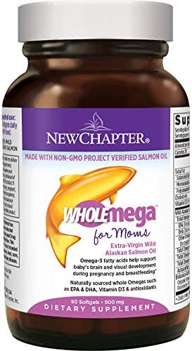 New Chapter Prenatal DHA - Wholemega for Moms Fish Oil Supplement with Omega-3 + Vitamin D3 for Prenatal & Postnatal Support - 90 ct softgels 500mg