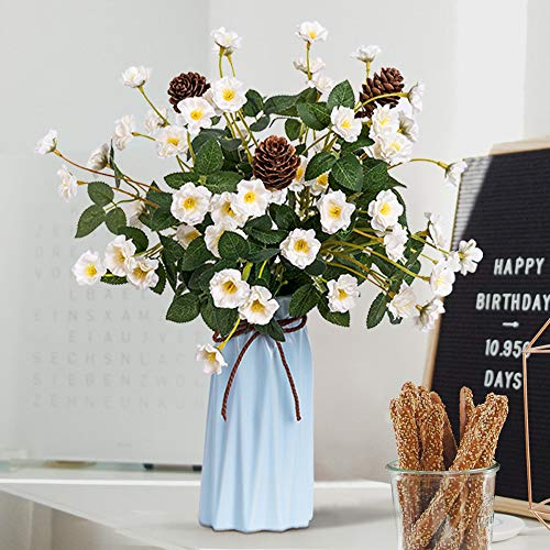 YILIYAJIA Rose with Vase Mini Artificial Rose Flowers with Ceramic Vase Cute Flowers Pinecone Centerpieces Decorations for Home Table ()