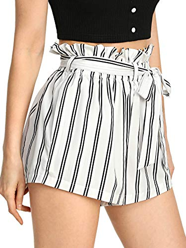 SweatyRocks Women's Casual Elastic Waist Striped Summer Beach Shorts with Pockets White XS