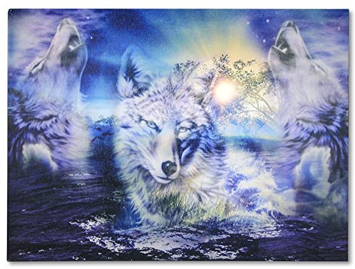 BANBERRY DESIGNS Wolf Picture - Howling Wolves LED Lighted Moon Canvas Print - Barking at The Night Moon in Snowy Winter Forest River (Pics Of Wolves Howling At The Moon)