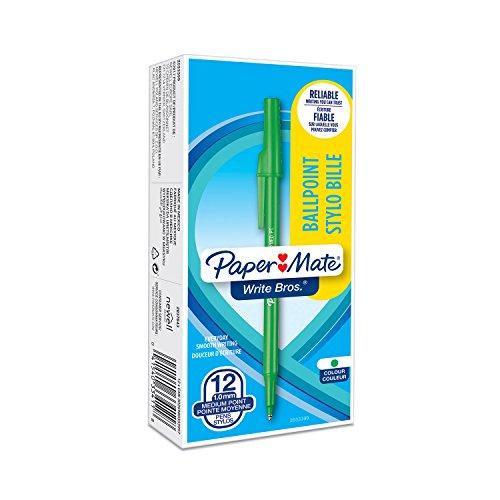 Paper Mate Write Bros Ballpoint Pens, Medium Point (1.0mm), Green, 12 Count (3341131)