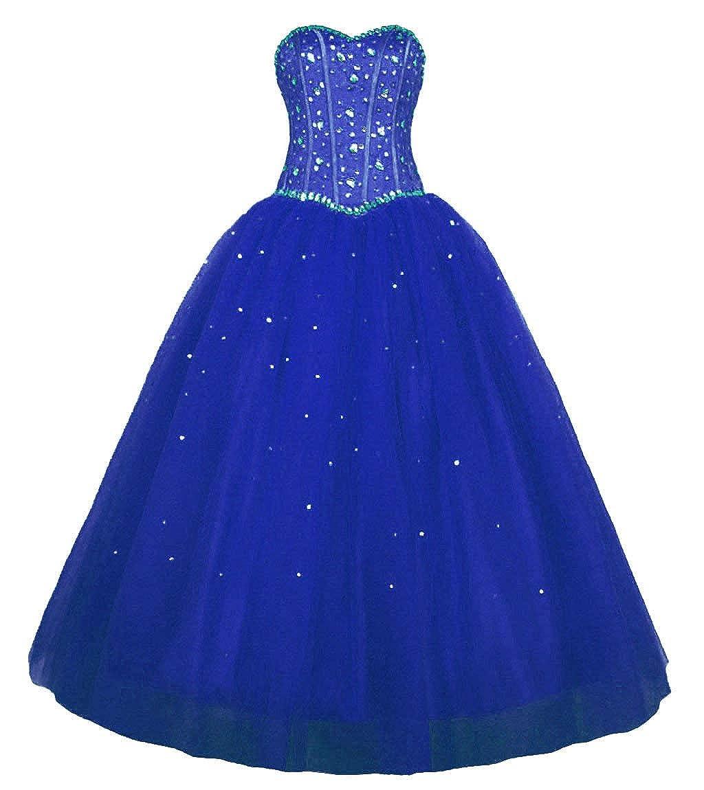 bluee Vantexi Women's Sweetheart Rhinestone Tulle Long Evening Prom Dresses