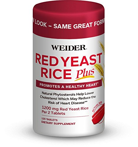 Weider Red Yeast Rice Plus 1200mg - With 850mg of Natural Phytosterols- Promotes A Healthy Heart - Gluten FREE - 30 day supply