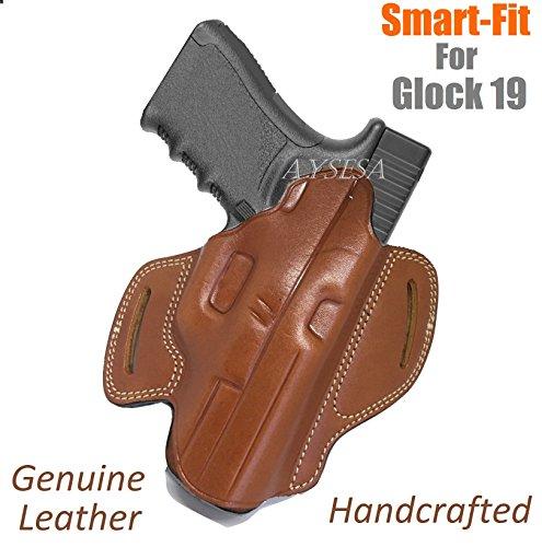 - Aysesa Handmade Leather OWB Gun Holster That Fits Glock 19, 23, 26, 27, H&K VP40, Springfield XDS Pistols Butterfly Outside Waistband Carry Handgun On Waist Belt Right Handed Angle Forward (Tan Brown)