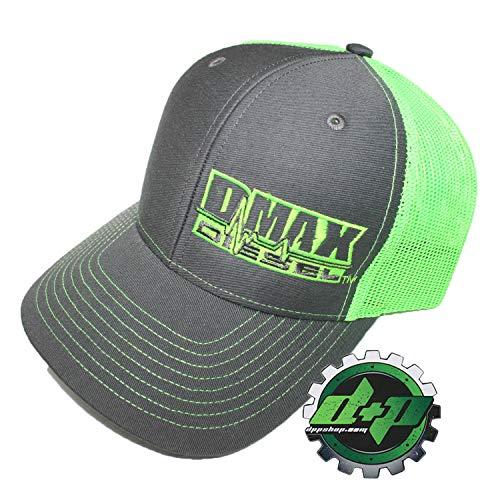 Dmax Duramax Diesel Richardson Trucker hat Ball mesh Grey neon Green snap Back ()