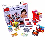 #6: 2 IN 1 Electronic Cash Register Toy/Shopping Cart w/scanner and Credit Card Reader Realistic Actions & Sounds learning toy cash register for kids (41pc) (US Seller)
