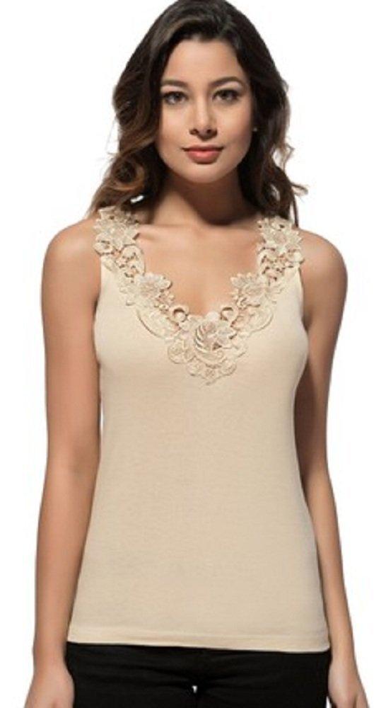 Maria Angel Lingerie Ladies Plain Cotton Wide Strap Vest Top Lace Trim Neck Design Cami Tank Camisole