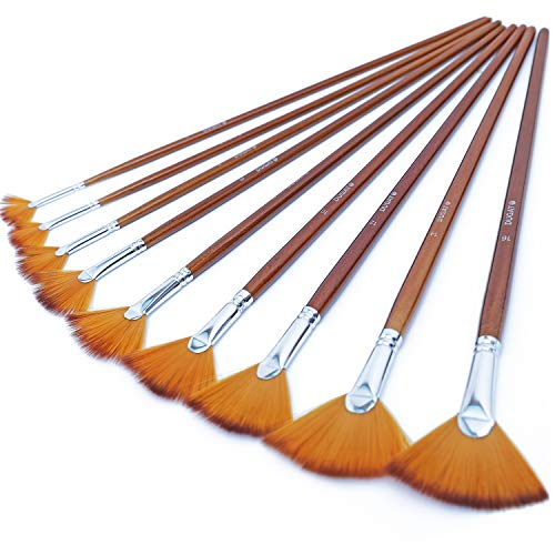 DUGATO Artist Fan Paint Brushes Set 9pcs - Soft Anti-Shedding Nylon Hair Wood Long Handle Paint Brush Set for Acrylic Watercolor Oil Gouche Painting