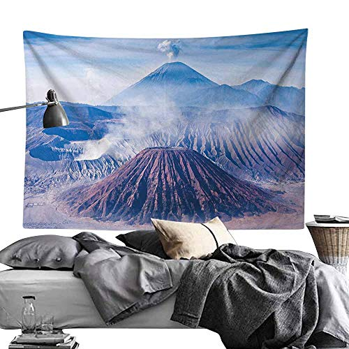 - Home Wall Hanging Nature Art Polyester Tapestry,Volcano,Bromo Batok and Semeru Volcanoes Java Island Indonesia Magma Activity,Light Blue Mauve White Print for Living Room Bedroom Dorm70 x90
